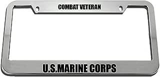 Speedy Pros Combat Veteran U.S.Marine Corps Zinc Metal License Plate Frame Car Auto Tag Holder - Chrome 2 Holes
