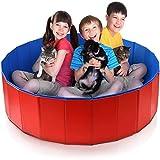 XQHD Faltbare Hunde Katzen Badewanne Pool, Wasserteich Haustier Bad Badewanne Badewanne Haustier Swimmingpool Tragbare Duschwanne Einweichen Reise,Red-120x30cm