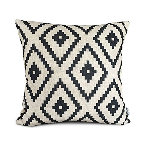 Elviros Linen Cotton Blend Decorative Geometric Cushion Cover Throw Pillow Case 18x18 inch - Black Rhombus