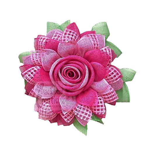 laoonl Flores artificiales decorativas para decoración, corona de girasol, 32 cm, anillo de flores hecho a mano, colgante de guirnalda, para la puerta de casa, decoración del Día de la Madre
