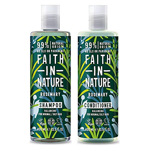 Faith In Nature Shampoo 400ml & Conditioner 400ml Duo | Vegan | Cruelty Free | 99% Natural Fragrance | Free From SLS or Parabens (Rosemary)