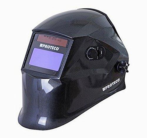 Proteco-Werkzeug® P800E-C Automatik Schweißhelm inkl 10 Ersatzgläser Solar Schweisshelm Schweissmaske Schweißschild Automatikhelm Carbon