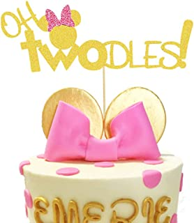 Oh Twodles Minnie Mouse Cake Topper,Second 2nd Birthday Party Supplies Decorations for Baby Girl Bday