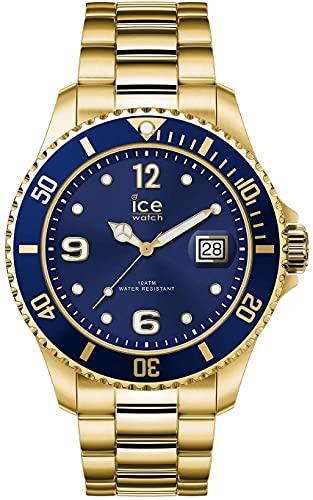 ICE-WATCH - ICE steel Gold blue - Gold Herren/Unisexuhr mit Metallarmband - 016761 (Medium)