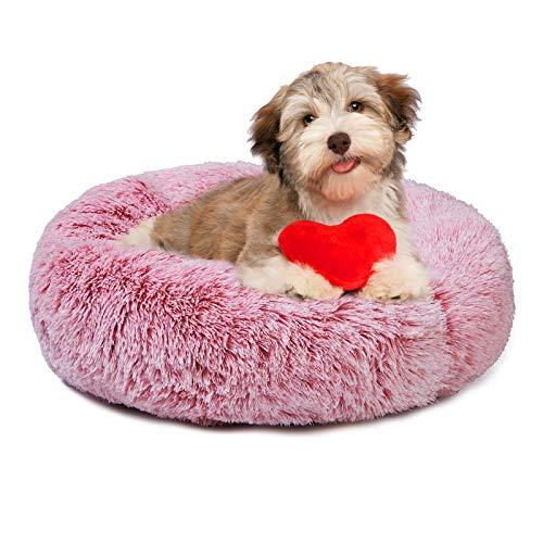 Pet Bed Dog Bed Pad Cat Round Cushion Comfortable Pillow Ultra Soft Plush Donut Sofa Machine Washable Mat Waterproof & Anti-Slip Bottom Pet Cuddle Beds for Jumbo Large Medium Dogs Cats 20' Pink