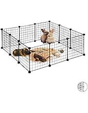 Relaxdays wybieg dla małych zwierząt, rozsuwany wylot dla zająca, wys. x szer. x gł.: ok. 37 x 110 x 110 cm, czarny