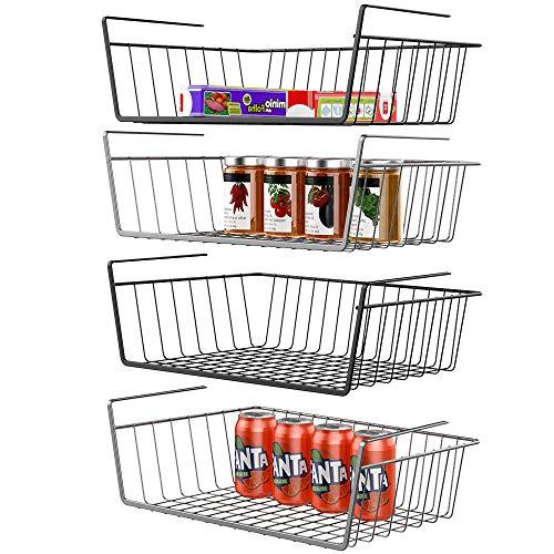 Under Shelf Basket, iSPECLE 4 Pack Wire Rack, Slides Under Shelves For Storage, Easy to Install Black Grey