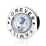 Charm'Family Forever' 925 Sterling Silber Zirkonia klar passend für Pandora & European Armbänder (Family Forever)