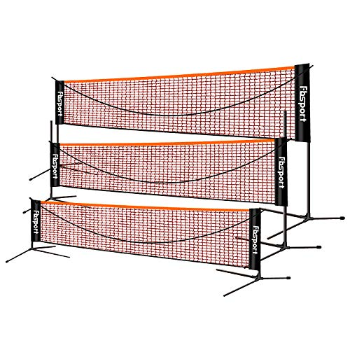 FBSPORT Portable Badminton Net Set, Adjustable Height Tennis, Kids Volleyball, Soccer Tennis Badminton Net with Poles Carry Bag, Easy Set up Net for Backyard, Beach, Driveway, 10ft, Black