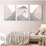 YANGMENGDAN Imprimir en Lienzo Montañas Blush Rosa Gris Impresiones Cartel contemporáneo Moderno Inicio Decoración de Arte de la Pared Pintura de la Lona Cuadros de la pared-50x70cm Sin Marco