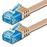 0,5m - CAT6a Cable de Red Plano (500 MHz) marrón Claro - 1 Pieza - Extra Alto Rendimiento DE Datos - 0,5m hasta 10 GB/s Piso Flaco Compatible con CAT5 CAT6 CAT7 CAT8 compatibles Cinta Internet