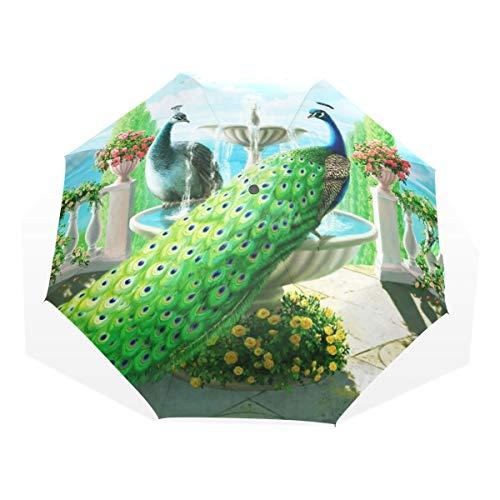 Regenschirm Peacock Animal 3 Folds Lightweight Anti-UV
