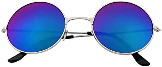 UV400 Vintage Women Men Quality Colorful Mirror Lens Round Glasses Durable Aluminium Frame UV400 Protection Sunglasses - Blue