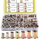 BONROB 170 Pezzi Assortimento di Dadi Filettati, Kit Rivetti Filettati con Acciaio al Carbonio Zincato, Testa a Dado Filettato M3/M4/M5/M6/M8/M10/M12 Confezionato in Custodia di Plastica B0002