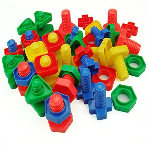 AZX Kinder Muttern Schrauben Spielzeug Bausteine Set Kunststoff Kinder Lernspielzeug Für Kleinkinder Vorschüler Zufällige Farbe