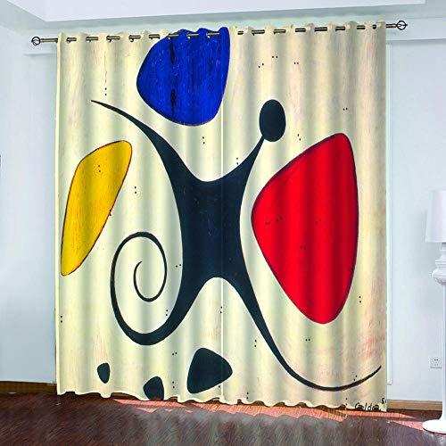 QINMENG Gardiner ogenomskinliga set med 2 stycken 150 cm x 166 cm gardiner mörkläggningsgardin med öglans graffiti för hem sovrum dekoration