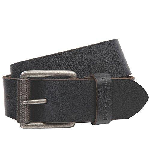 Pierre Cardin Mens leather belt/Mens belt, full grain leather with roller buckle, black/brown, Größe/Size:85, Farbe/Color:nero