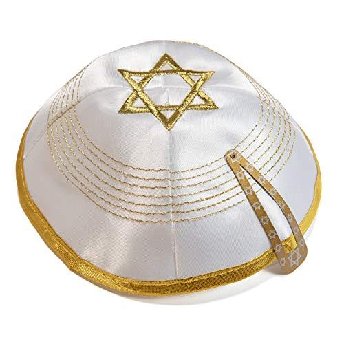 JL Kippha's Satin 2cm Weißgold Embroided Davidstern Kippah jüdischen Kippa Yarmulke Synagoge