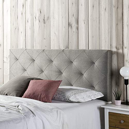 marcKonfort Tête de lit Milano 140X60, Losanges en Tissu Gris, 8 cm d'épaisseur