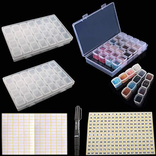RUNCCI-YUN 2 Stück 28 Fächer Kunststoff Dosen,sortierbox kleinteile,Diamant Stickerei Sortierbox in ,Plastik Medizin Pille Aufbewahrungsbox,für DIY Perlen Nailart Strass Schmuck Organizer