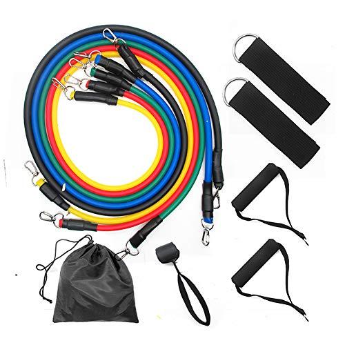 Conjunto de bandas de resistencia al ejercicio en el hogar de 11 piezas, apilable hasta 100 lb, banda elástica de entrenamiento de yoga, cinturón corporal, entrenamiento de gimnasia, estiramiento