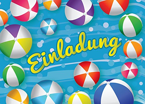 JuNa-Experten 12 Einladungskarten Kindergeburtstag Schwimmbad Mädchen Jungen Jungs Geburtstagseinladungen Einladungen Geburtstags-Party Kartenset