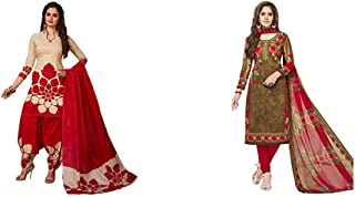 Jevi Prints Women's Dress Material (Pack of 2)(Rimzim-9159&Varsha-2363_Item 1 Color Beige & Red|Item 2 Color Brown_Free Size)