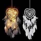 Atrapasueños con luces LED hecho a mano en forma de corazón atrapasueños con plumas colgantes para decoración de dormitorio de niñas o casa boda (blanco)
