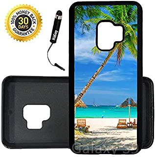 Custom Galaxy S9 Case (Tropical Beach Resort Palm Tree Sand) Edge-to-Edge Rubber Black Cover Ultra Slim | Lightweight | Includes Stylus Pen by Innosub
