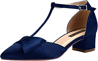 ERIJUNOR Bow Shoes Comfortable Low Heels for Women Pointy Toe T-Strap Wide Width Evening Wedding Satin Shoes