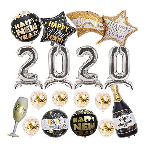 Minear 2020 Neujahr Ballons Kit Silvester deko Harmlose sichere Wiederverwendbare Ballone eingestellt für das Layout des neuen Jahres der KTV-Hotel-Versammlungen