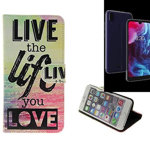 K-S-Trade Schutzhülle Für Archos Oxygen 57 Schutz Hülle 360° Wallet Hülle ''live Life Love'' Schutzhülle Handy Tasche Handyhülle Etui Smartphone Flip Cover Standfunktion (1x)