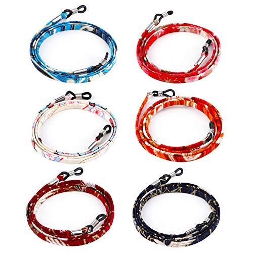 HIFOT Brillenband 6 Stück, Brillen kette für Lesebrille & Sonnenbrille Strap, japanischer Stil Brillenkette Brillenschnur Brillenkordel damen herren