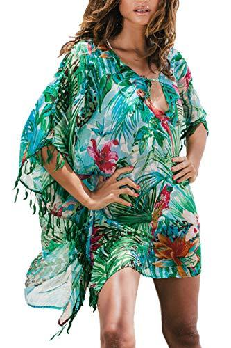 LikeJump Femmes T-Shirt de Plage Tunique Manches Chauve-Souris Cover Up Maillot de Bain