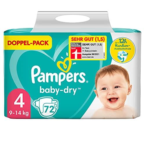 Pampers Baby-Dry Größe 4, 72 Windeln, bis zu 12Stunden Rundum-Auslaufschutz, 9-14kg