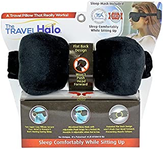 The Travel Halo by Cloudz A Pillow Alternative Fully Adjustable with Microbead Sleep Mask and Earplugs