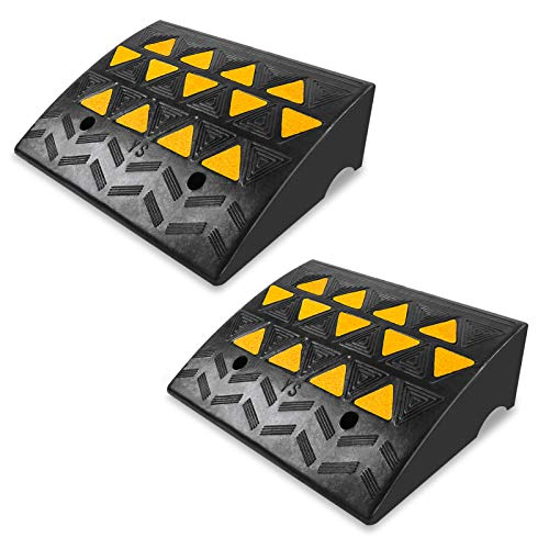 6' Rise Threshold Ramp, 2pcs Anti-Slip Heavy Duty Car Curb Ramp Rubber Curb Ramps Driveway Car Vehicle Wheelchair Threshold Ramp for Driveway, Sidewalk, Loading Dock, Truck, Scooter