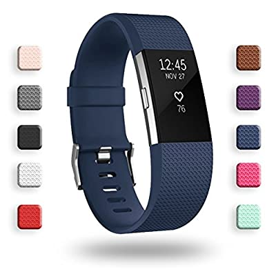 POY Replacement Bands Compatible for Fitbit Charge 2, Classic Edition Adjustable Sport Wristbands, Large Navy