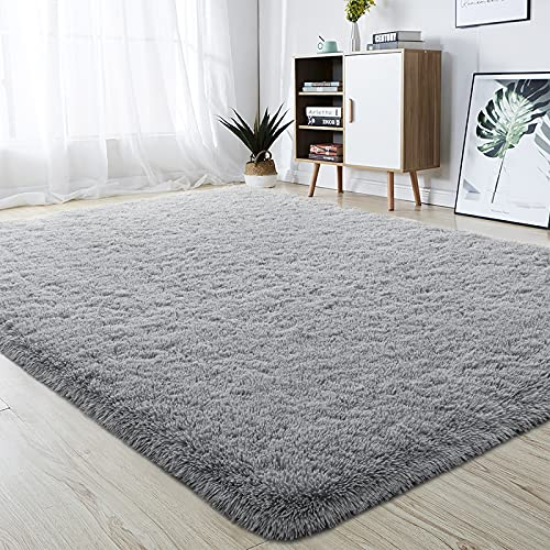 soft rugs for bedrooms junovo Ultra Soft Area Rugs, Fluffy Carpets for Bedroom Kids Girls Boys Baby Living Room Shaggy Floor Nursery Rug Home Decor Mats, 4 x 5.3ft Grey