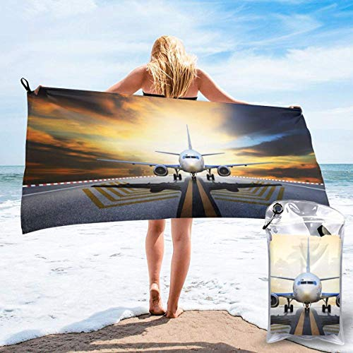shenguang Backpack Airplane Printed Travel Quick Dry Bath Towels Sports Gym Microfiber Beach Towels Camping Swimming Compact Towel