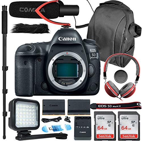 Canon EOS 5D Mark IV Full Frame DSLR Camera (Body Only) with 33rd Street Camera Video Bundle with 128GB Memory, Microphone, LED Light, Headset Package