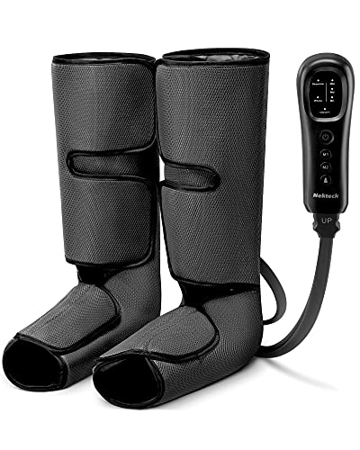Nekteck Leg Massager with Air Compression for Circulation and Relaxation, Foot and Calf Massage Machine with Hand-held Controller 2 Modes 3 Intensities, Adjustable Leg Wraps for Home and Office Use