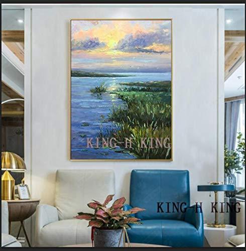 mmzki Leinwand Malerei großegemalte Moderne abstrakte Messer Sonnenaufgang Ölgemälde auf Leinwand Wandbilder für Wohnzimmer Hotal Wanddekoration-50x70CM_KH10