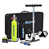 DEDEPU Mini Scuba Tank Portable Diving Tank S5000A-Package C 1L Small Diving Cylinder Snorkeling Tank Manual Pump Device for Family, Party and Trip Perfect Professional Diving Packages(U.S. Inventory)