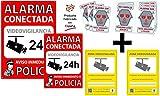 tualarmasincuotas.es Pack de 2 Carteles Disuasorios Alarma Conectada + 6 Pegatinas de Seguridad Aviso a Policía + 2 Pegatinas Zona Videovigilada