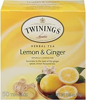 Twinings of London Lemon & Ginger Herbal Tea Bags, 50 Count (Pack of 1)