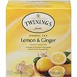 Twinings of London Lemon & Ginger Herbal Tea Bags, 50 Count (Pack of 6)