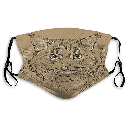 sfyvgxzfgyd Anti Dust Face Shield Mouth Covers Breathable Mouth Cover Maine Coon cat Brown Outline Monochrome Portrai Skiing Cover
