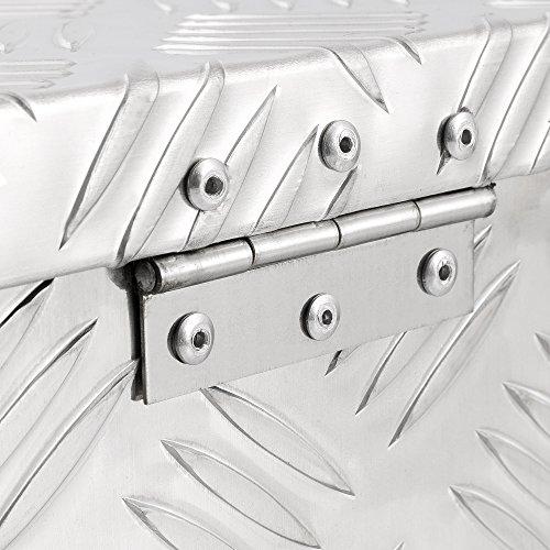 Arebos Aluminiumbox Werkzeugbox Deichselbox / 40 Liter / 60 x 25 x 30 cm/Inkl. Moosgummidichtung/Silber - 6