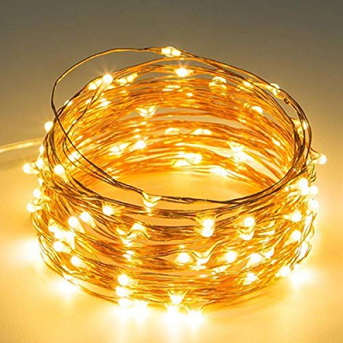 LedStrip LedStreifen 3M Silber Kupferdraht Led Fee Lichterketten Batteriebetriebene Weihnachtsbeleuchtung Für Weihnachtsbaum Hochzeitsfeier Dekoration Gelb